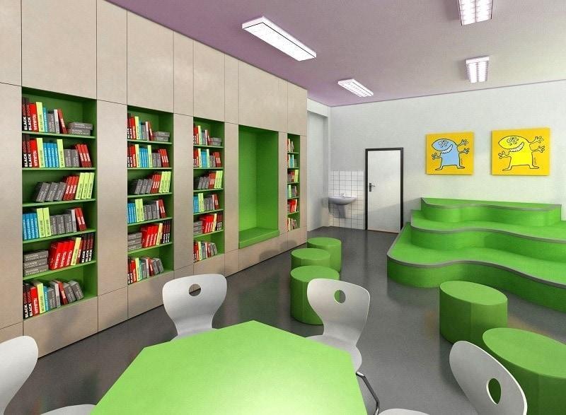 Realizácia ZŠ Nováky - interiér knižnice a študovne