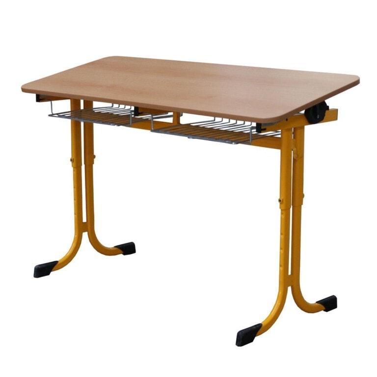 Školská dvojmiestna lavica Trend sklopná, výškovo nastaviteľná, 1300x500 mm žltá
