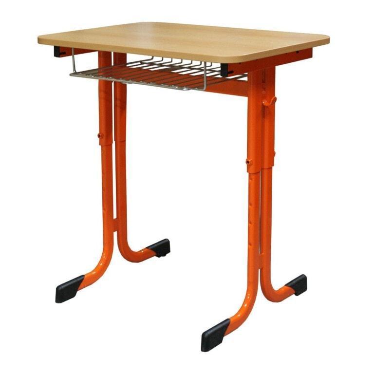 Školská jednomiestna lavica Trend sklopná, výškovo nastaviteľná, 670x500 mm oranžová