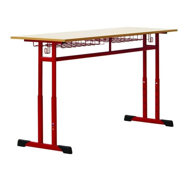 Školská  dvojmiestna  lavica Prim, výškovo nastaviteľná červená