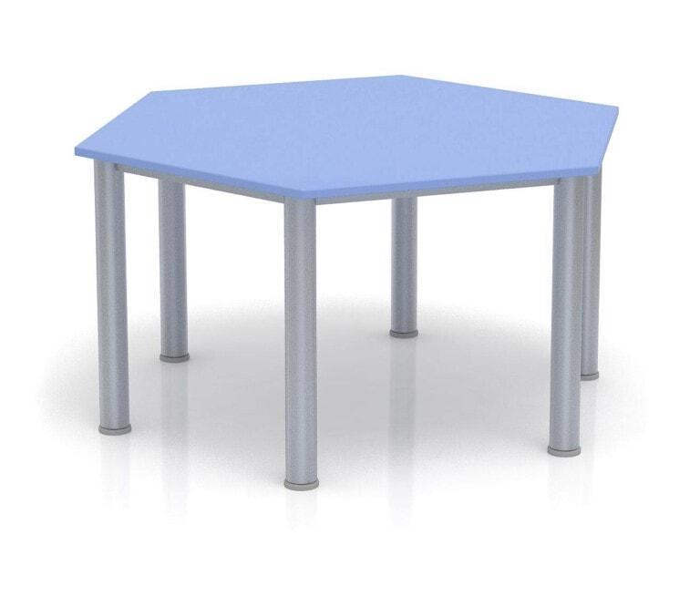 Detský stôl Fantasy šesťuholník, výška 600 - 710 mm modrá