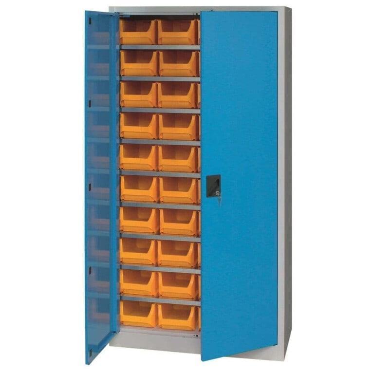 Skriňa do dielne s plastovými boxmi a dverami