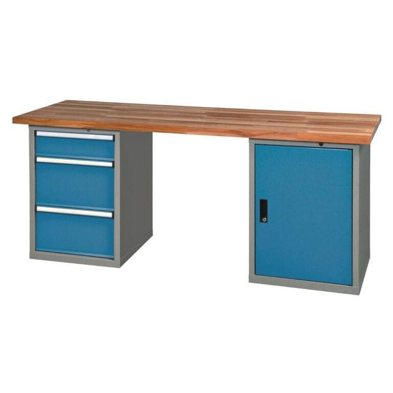 Stôl do dielne so skrinkou a 3 zásuvkami