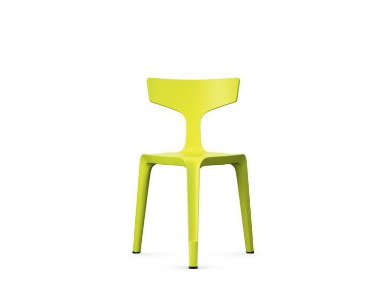 Trojnohá plastová stolička Stakki žltá